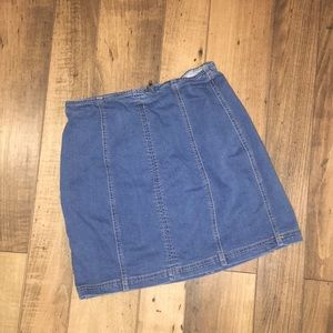 Stretch mini jean skirt
